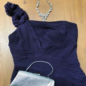 Plum, one shoulder, chiffon evening dress, long